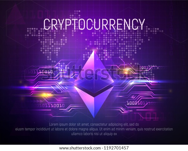 Bright Ethereal Ethereum Mining Technology Vector Stock