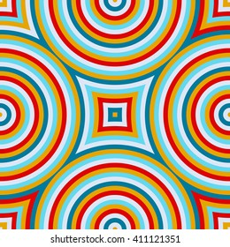 Bright ethnic abstract background. Seamless pattern with symmetric geometric ornament. Ornamental mosaic texture. Vector illustration