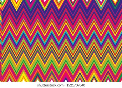 Bright ethnic pattern with colorful zigzag lines. Vector illustration