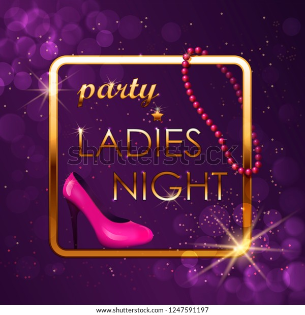 Bright Evening Invitation Card Pink Beads Stock Vector