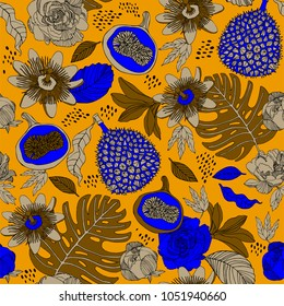 Bright exotic fruits pattern design.