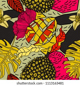 Bright exotic pattern design, tropical mango and durian.