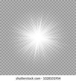 A bright explosion of a star on a transparent background. Vector illustration with light effect