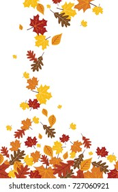 Bright Falling Fall Autumn Leaves Vertical Illustration 1