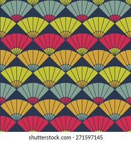 Bright fan background. Based on Traditional Japanese Embroidery. Abstract Seamless pattern. Based on Sashiko stitching - uchiwa.