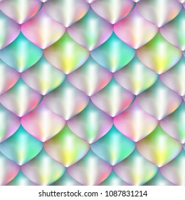 Bright fantasy scale vector background. Mermaid skin texture seamless pattern.  Rainbow Dragon scales design.