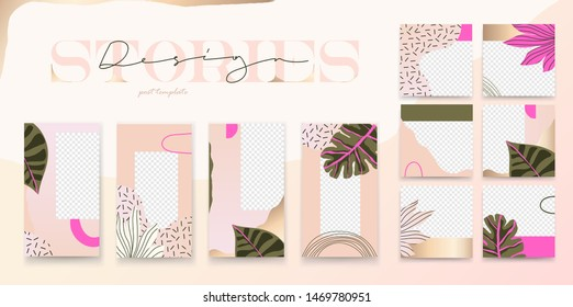 Bright fashionable set of social media stories and posts design templates. Trendy design with exotic leaves. Vector design backgrounds for social media banner.