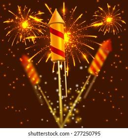 Bright festival crackers on fireworks background. Vector illustration