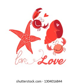 Bright Festive bright card with in love funny crabs on a white background