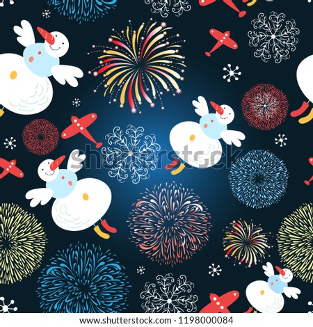 Bright festive Christmas pattern of flying snowmen against a dark background with lights.