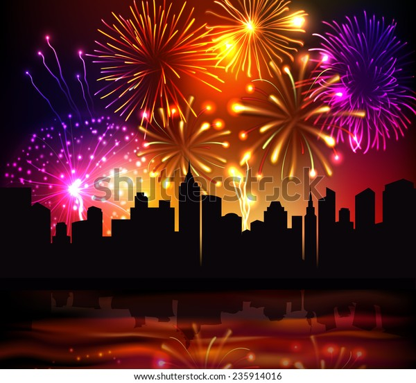 Bright festive fireworks with modern city skyscrapers at night background vector illustration