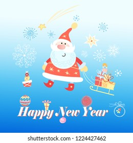 Bright festive merry Christmas greeting card with Santa Claus on a blue background with snowflakes