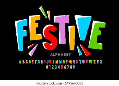 Bright festive style font design, alphabet letters and numbers, vector illustration