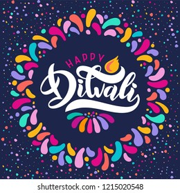 Bright festive vector text happy Diwali with imitation of diya oil lamp, candle flame. Decorative ornament rangoli. Outbreaks of festive fireworks. Greeting lettering religious Indian festival Diwali