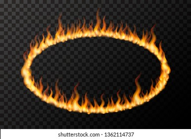 Bright fire flame in ellipse shape on transparent background