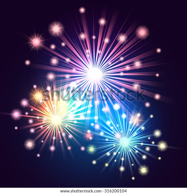 Bright fireworks colorful illustration. Holiday Salute in the night sky.