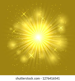 Bright flash and explosion on the dark background, stock vector