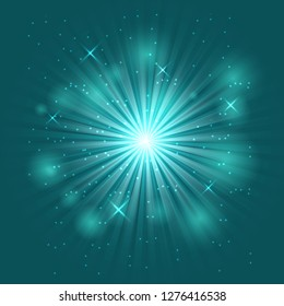 Bright flash and explosion on green background, stock vector