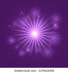 Bright flash and explosion on purple background, stock vector