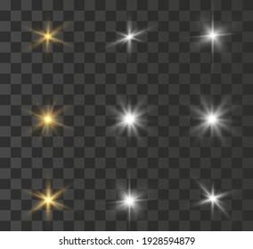 Bright flash of light, new star, bright sun for vector illustrations.