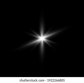 Bright flash of light on a transparent background vector illustration.