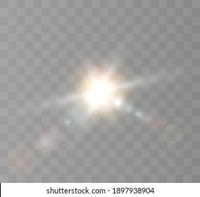 A bright flash of the sun with rays and glare. Vector 10 eps.