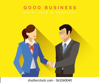 Bright flat concept of business people, business man and business woman shaking hands making a deal, business partners, good business, business card on yellow background