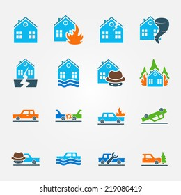 Bright flat insurance icons vector set - natural disaster, home and auto insurance, car crash vector symbols