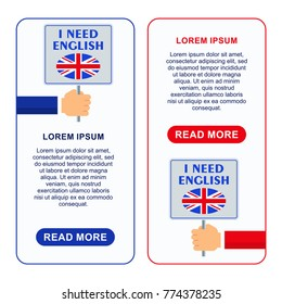 Bright flat vector banners with card for English language learning. Courses of foreign language, schools for studying British pronunciation. Information for site, social network, poster and flyer.