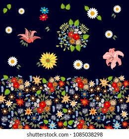 Bright floral border with bohemiam motifs. Colorful chamomiles, lilies and wildflowers on black background.