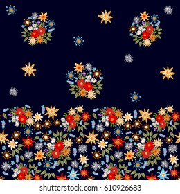 Bright floral border with Spanish motifs. Colorful flowers on black background.