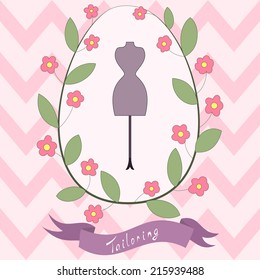 Bright floral card with cute cartoon tailoring emblem with mannequin and floral wreath and banner with hand drawn inscription. Fashion and tailoring flyer design