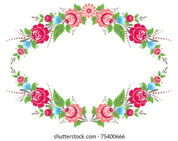 Bright floral frame with flowers in folk style