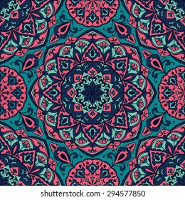 Bright floral pattern with mandalas. Vector seamless, mottled background. Multicolor print on fabric.