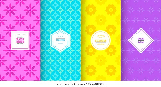 Bright floral patterns. Set of seamless vector with spring flower ornament. Simple summer floral background. Pattern for holiday birthday celebrations, cute baby invitation. Bright rainbow color