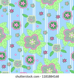 bright floral seamless pattern blue pink green flowers with white stripes background vector