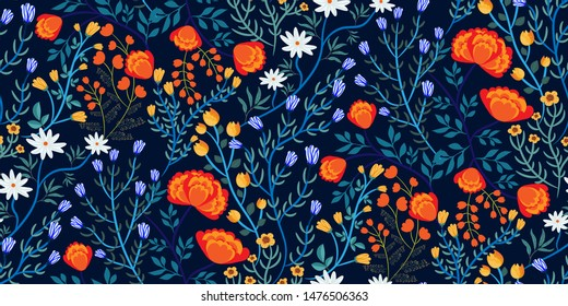 Bright floral seamless pattern with different kinds of flowers (marigolds, daisies, tulips...), leaves in hand-drawn style on a dark blue background. Template  for fabrics, Wallpapers, prints...Vector
