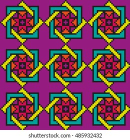 Bright floral seamless stitching pattern on a bright violet background. Vector illustration