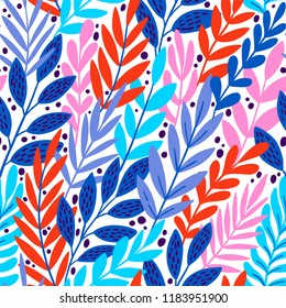 Bright floral tropical leaves on abstract colorful pattern. vector seamless background. Plant flower nature wallpaper