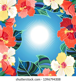 Bright floral vector background with different hibiscuses exotic tropic