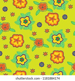 Bright flower background seamless vector pattern orange yellow green blue