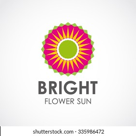 Bright flower of sun art abstract vector and logo design or template creative business icon of company identity symbol concept
