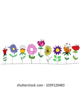 bright flowers drawn in a naive style, children's drawing, simple background.