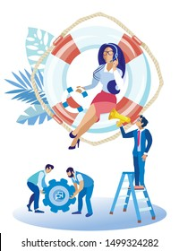 Bright Flyer Call Center Sociological Assistance. Operator Pays Attention to Details. Beautiful Girl Sitting on Life Preserver and Talking on Phone. Man Looks at Girl. Vector Illustration.