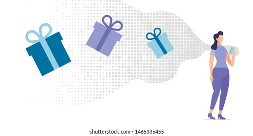 Bright Flyer Choosing and Shaping Gift Online. Conceptual Idea is Woman in World Gifts. Girl Chooses Gifts in Smartphone. Application for Selection Creative Gifts. Vector Illustration.