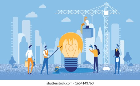 Bright Flyer Creative Staining Idea Management. Find or Come Up with all Possible Flaws and Advantages Described Idea. Men and Women are Involved in Painting Light Bulbs at Construction Site.