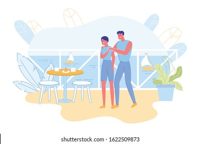 Bright Flyer, Cute Surprise from Husband at Sea. Couple Resting in Beach Resort. They Standing Balcony their Room near Table Set by her Husband. Near Overlooks Sea Surface and Sails Ships.
