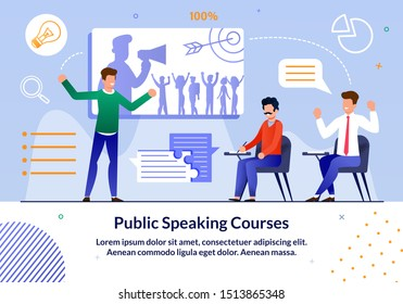 Bright Flyer Inscription Public Spiking Courses. Companies are Introducing Online Education to Train their Employees. Men are Sitting in Audience and Listening to Speaker. Oratory Training.