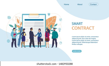 Bright Flyer Inscription Smart Contract Flat. Discussion Main Points Organization and Operation Office. Office Workers in Business Clothes are Standing against Background Large Document.