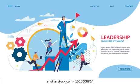 Bright Flyer Leadership, Training and Development. Mans Boss is Standing on Podium with Flag, Girl with Briefcase is Running Up Stairs, Guys fre Running against Background Large Dial.